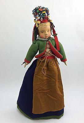 "17"" Antique Wooden German Anna Fehrle Doll Felt Costume & Beaded Headdress w/Tag"
