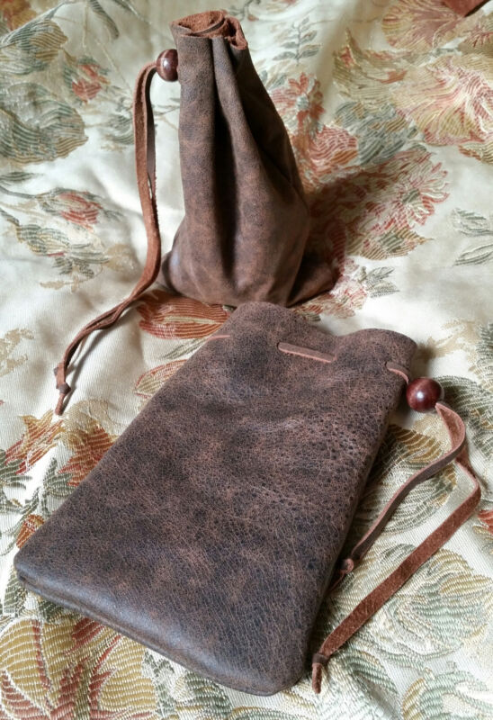 deluxe leather dice coin bag pouch medieval renaissance brown drawstring