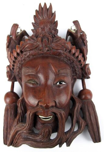Antique Asian Carved Wood Glass Eye Face Mask Dragon Head