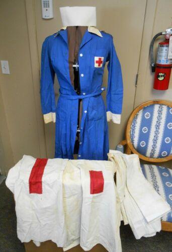 WW1 WW2 US VAD Nurse Uniform Darker Blue Dress 2 Aprons Hat Sash Shower Curtain