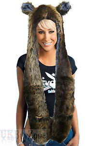 Faux Fur Winter Hat Animal Wolf Hood Scarf Gloves Ladies Girls Mens Xmas Spirit