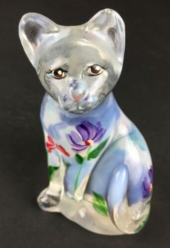 Fenton Lenox Opalescent Hand Painted Cat 100 Yr Anniversary 2005 Burkhart Signed
