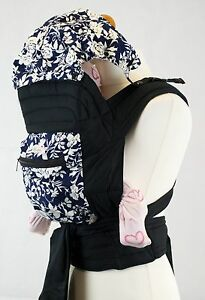 Mei Tai Baby Toddler Carrier Sling With Hood And Pocket - Blue & White Floral