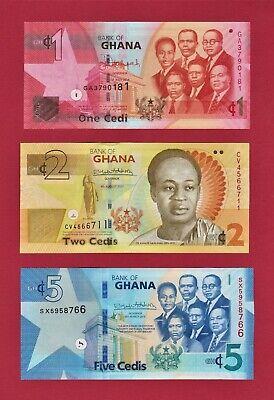 GHANA UNC BANKNOTES: 1 Cedis 2014 (P-37e), 2 Cedis 2017 (P-37Ae), & 5 Cedis 2019