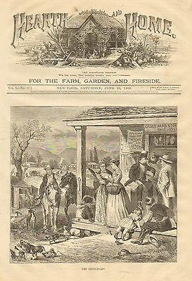 Country Store, Cross Roads, Rural, Gossip, Socializing, 1869 Antique Art Print,