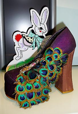 IRREGULAR CHOICE BEST OF ALL SHOES PURPLE 6.5 PUMPS PEACOCK FEATHERS