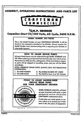 1968 Craftsman 3-4HP 8x1 inch Capacitor Start Bench Grinder Instruction Manual 3