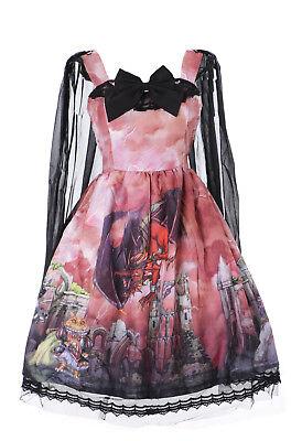 JSK-21 Rojo Gato Caballero Princess Dragon Fairy Pastel Vestido Gótico de Lolita