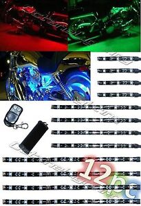 12PC MOTORCYCLE RGB/RED/GREEN/BLUE/YELLOW GLOW LIGHTS FLEXIBLE LED STRIPS KIT