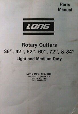 Long 36 42 52 60 72 84 1773a 1780 3-point Rotary Mower Parts Manual Tractor