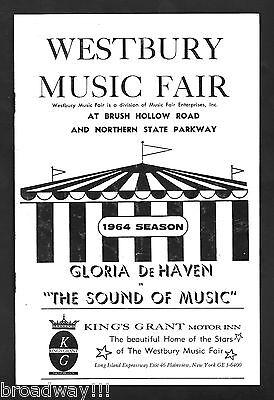 """Gloria De Haven """"SOUND OF MUSIC"""" Rodgers & Hammerstein 1964 Westbury Playbill"""