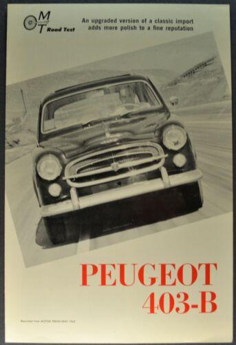 1962 Peugeot 403-B Road Test Sales Brochure Folder Excellent Original 62