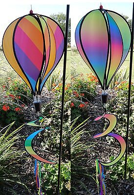 Rainbow Hot Air Balloon Wind Spinner Multi-Colored ...