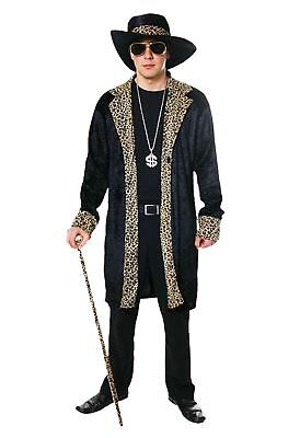 Mens Black Gangster Rapper Costume Adults 70s Theme Party Fancy Dress Outfit