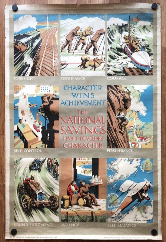 Original Vintage Poster CHARACTER WINS ACHIEVEMENT British World War II WWII
