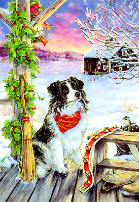 DOG ON COUNTRY PORCH CHRISTMAS CARDS by LEANIN' TREE #72421 (10-pk) USA NIB