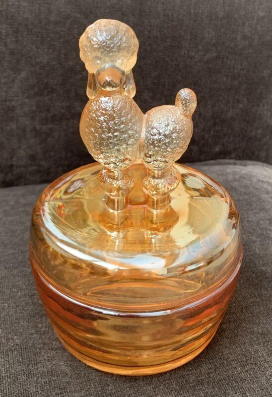 Jeanette Glass Poodle Trinket Box Powder Jar w Lid Marigold Carnival Vintage