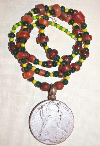 Antique Maria Theresa Thaler Coin Ethiopian Pendant Necklace W Antique Carnelian