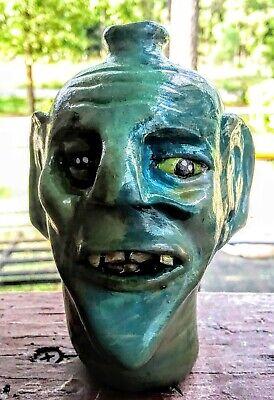 Ugly jug .. Southern Pottery Face Jug - signed- Decorative Southern Folk Art