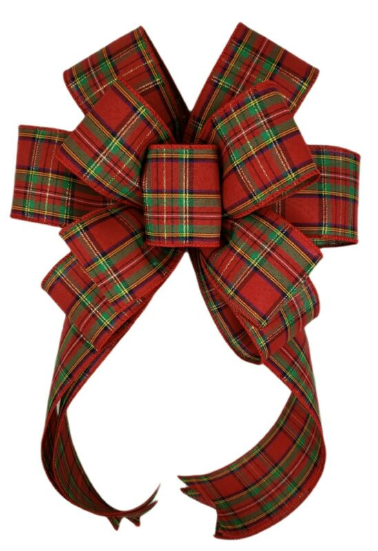 Christmas Traditional Tartan Red Green Plaid Wreath Bow Home Holiday Decor