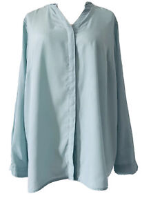 M-amp-S-Classic-Mint-Green-Chiffon-Blouse-Elegant-V-Neck-Long-Sleeves-Plus-Size-20