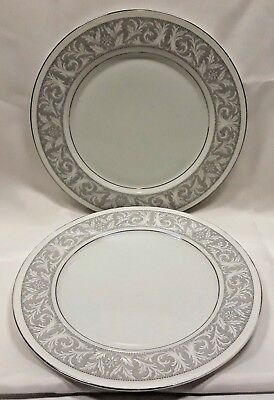 Imperial China Of Japan Whitney Dinner Plates x2 Gray Band Leaf Scrolls