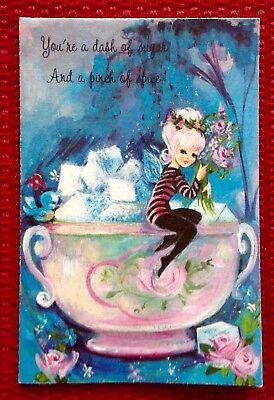 UNUSED Fairy Pixie Pink Blue Bird Sugar Cubes Mid-Century Vintage Birthday Card