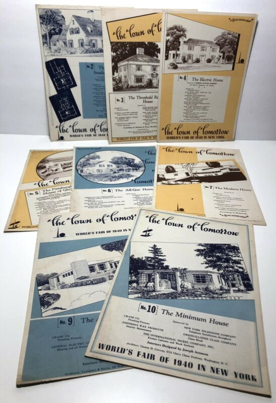 The Town Of Tomorrow lot of 8 house design brochures from 1940 NY Worlds Fair