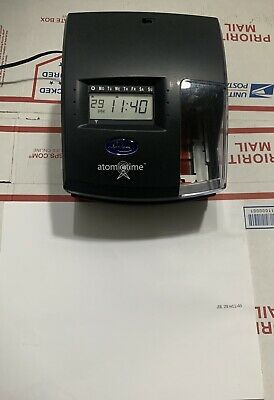 Lathem Atomic Time 1500E NO KEY Self Setting Stamp Stamping Time Clock Tested