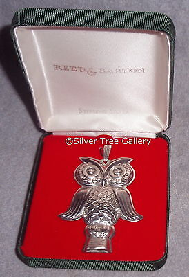 Vintage Reed Barton Sterling Silver Owl Whistle Christmas Ornament Pendant Gift