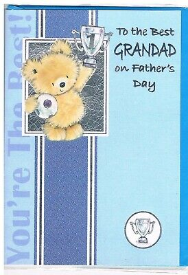 TO THE BEST GRANDAD ON FATHERS DAY** TEDDY WITH CUP FOOTBALL **LOVELY VERSE
