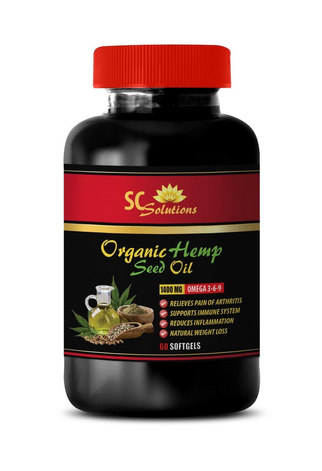 hemp oil for pain relief, ORGANIC HEMP SEED OIL 1400mg, omega acids 1 Bottle