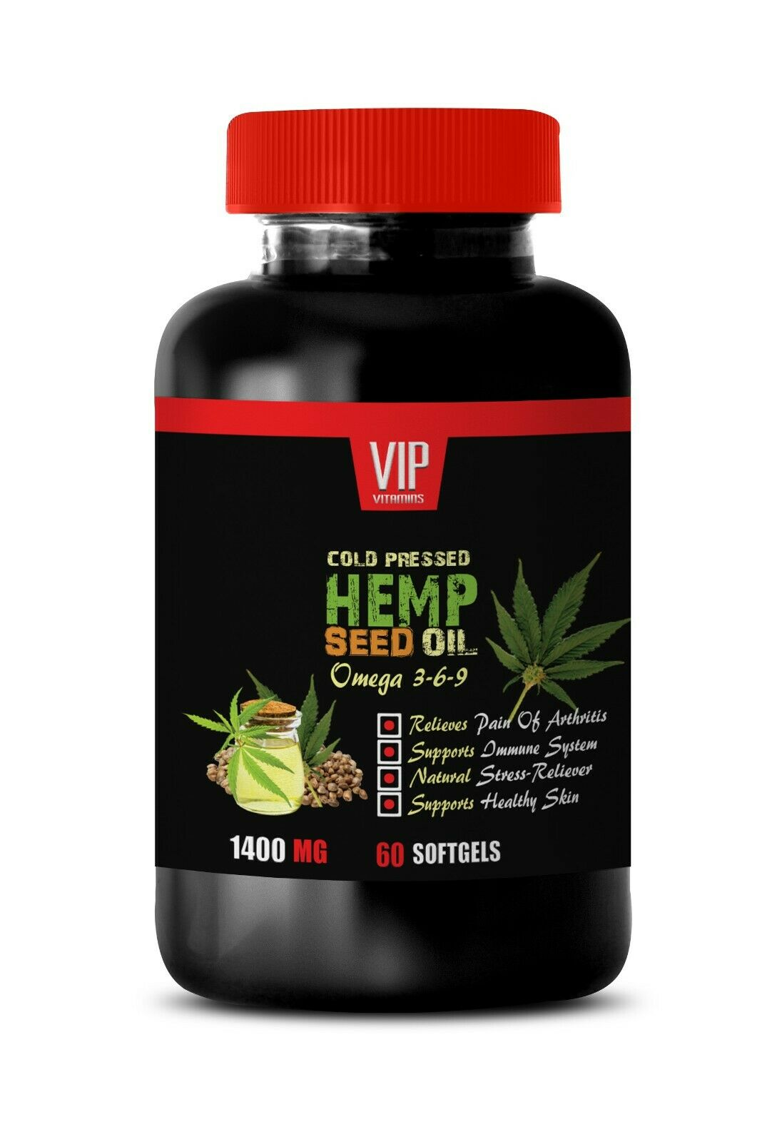 omega 3-6-9 - Hemp Seed Oil 1400mg (1) - antioxidants for skin revitalization