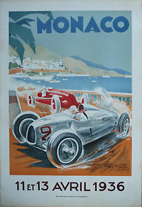 affiche grand prix de monaco 1936 geo ham arte paris musee automobile ebay. Black Bedroom Furniture Sets. Home Design Ideas