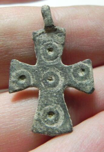 ZURQIEH - AS11694-  ANCIENT BYZANTINE BRONZE CROSS. 600 A.D - JORDAN