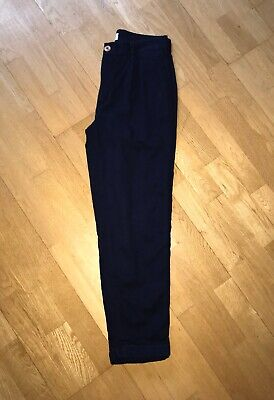 KING & TUCKFIELD SZ M NAVY BLUE COTTON PLEAT FRONT TAPERED LEG TROUSERS