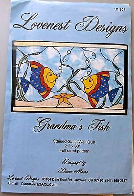 Grandma's Fish Stained Glass Wall Quilt Pattern By Lovenest Designs # LD 308