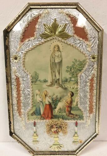 "VINTAGE RELIGIOUS MARY W/ CHILDREN PICTURE BUBBLE DOME CONVEX GLASS 11"" X 18"""