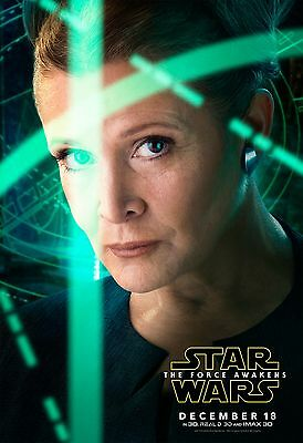Star Wars The Force Awakens Movie Poster  24X36  Carrie Fisher  Princess Leia V4
