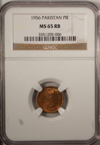 Pakistan 1 Pie 1956  NGC MS 65 RD UNC  Bronze  Red
