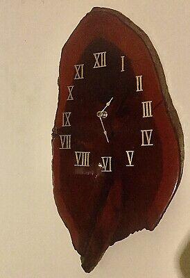 "Redwood wood slab clock burl electric handmade 18"" X 9 1/2"""