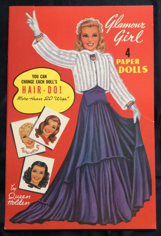 Glamour Girl Paper Doll Book by Queen Holden, Repro of 1942 Bk. Uncut, Excellent