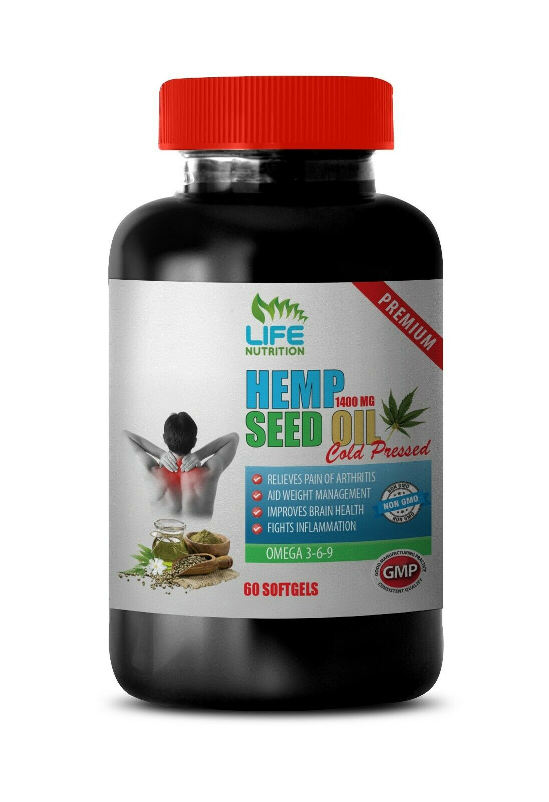 fight inflammation, ORGANIC HEMP SEED OIL 1400mg, sharpen cognitive function 1B