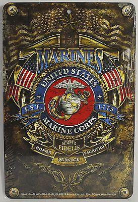 MARINES EST 1775 METAL SIGN Aluminum USMC Parking Plaque NEW Armed Forces Emblem