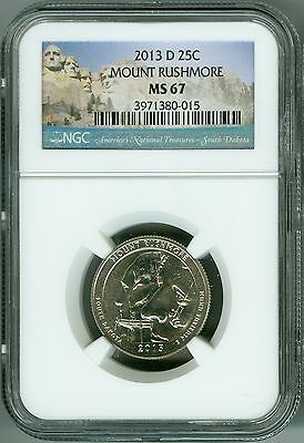 2013 D NGC MS67 MOUNT RUSHMORE 25C PARKS LOGO QUARTER 2ND FINEST REGISTRY