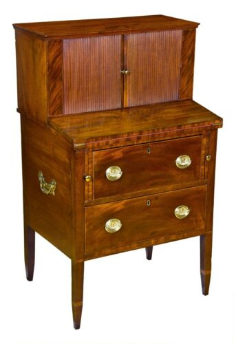 SWC-Rare Diminutive Hepplewhite Mahogany Tambour Two-Part Desk, MA, c. 1795