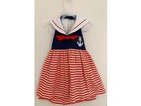Girls BETTI TERRELL boutique dress 2T 3T 5 6 NWT orange seersucker whale beach