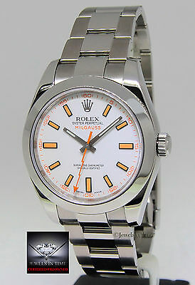 Rolex Milgauss Steel White Dial Automatic Mens Watch Box/Papers 116400