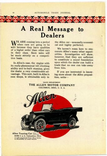 1920 Allen Motor Company Ad: Allen Motor Cars, Touring Model - Columbus, OhiO