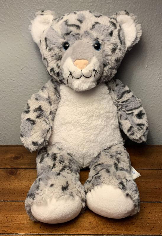 "Build A Bear Gray/White Snow Leopard BAB Plush Stuffed Animal 2015 - 16"" Inches"